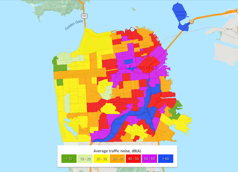Traffic Noise Map for San Francisco | Bay Area Noise Control